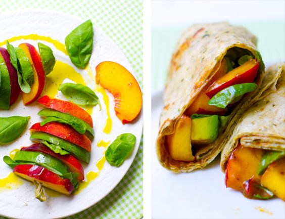 Peach Basil Avocado Balsamic Wrap 1 extra large wrap or use skewers
