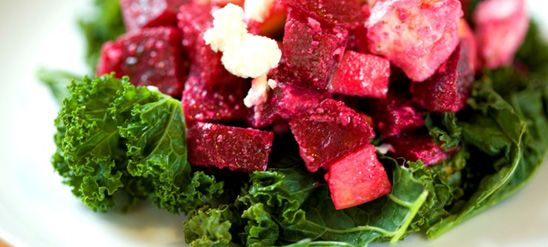 Beet, Apple and Feta Cheese Salad Nestled in Winterbor Kale! Mmmm ...