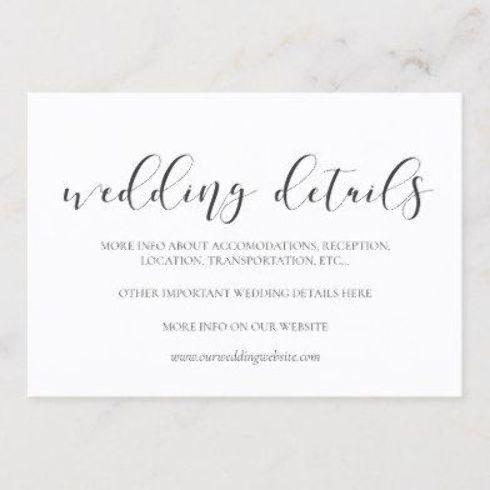 Elegant Design Wedding Details Card Wedding Details Card