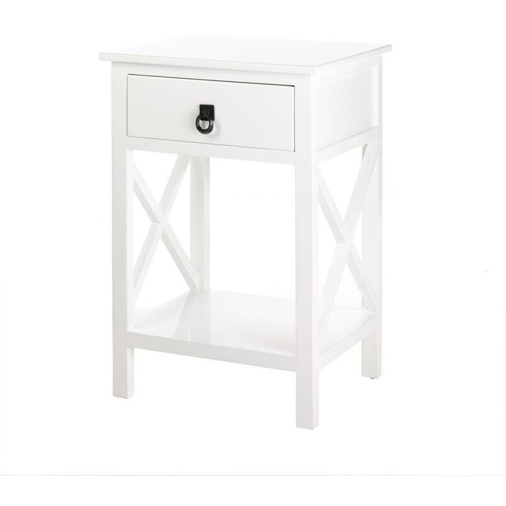 Modern, Coastal White Side Table, Night Stand Table