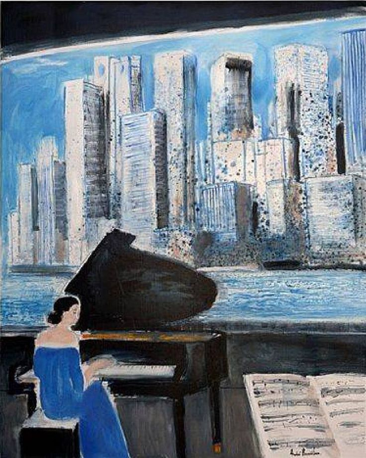 """huariqueje: """"  Piano in a New York Cafe - André Brasilier , 2013 French, b.1919- Oil on canvas, 146 x 114 cm. (57.5 x 44.9 in.) """""""