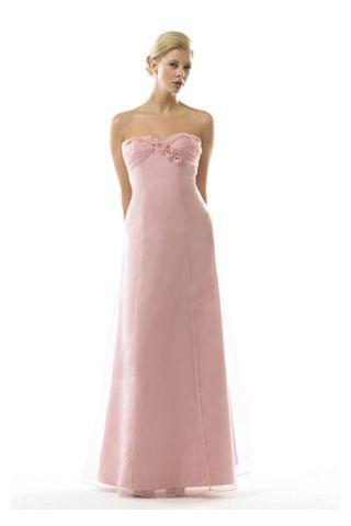 Pink Junior Bride Dresses | Pink Sweetheart Column Junior Bridesmaid Dress with Organza Overlay