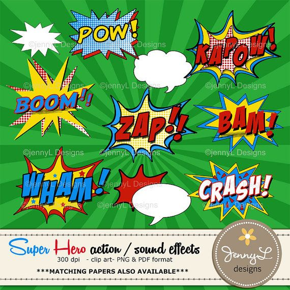 Superhero Comic Sound Effects clipart Super by JennyLDesignsShop