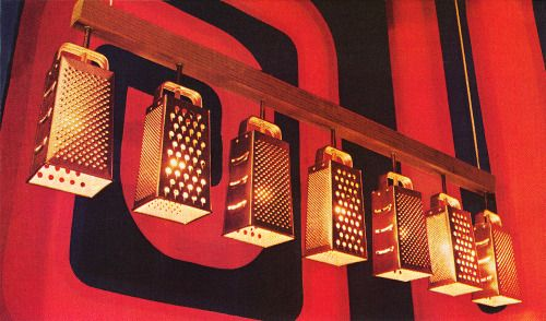MidCentury graters made into modern light fixtures.