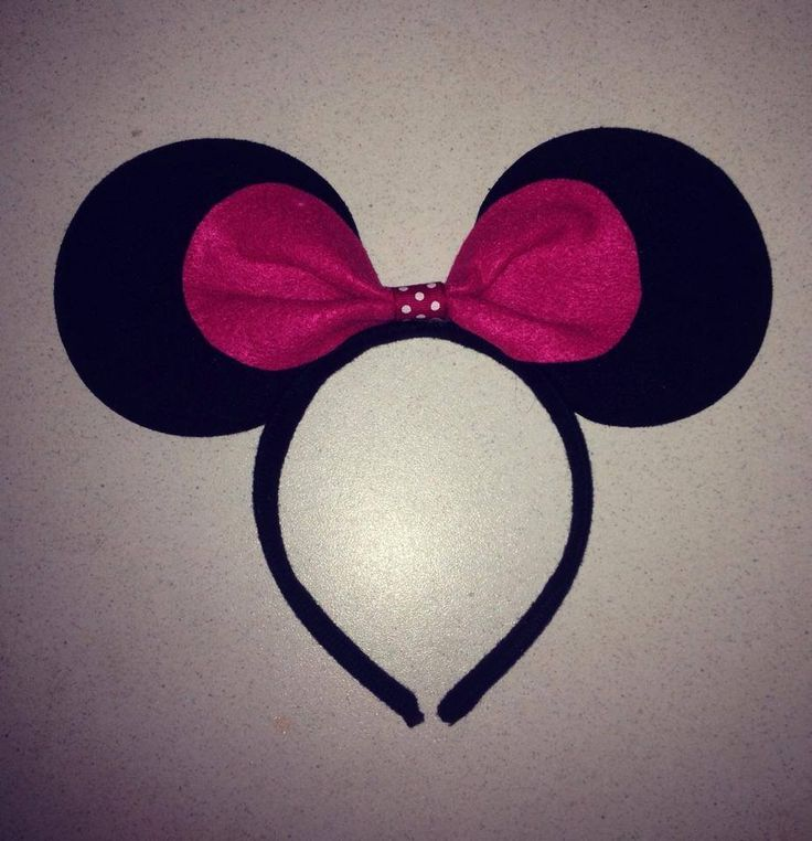 Minnie ears in pink and black made from felt