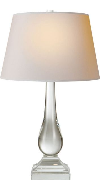Modern Balustrade Round Table Lamp in Crystal with Natural Paper Shade
