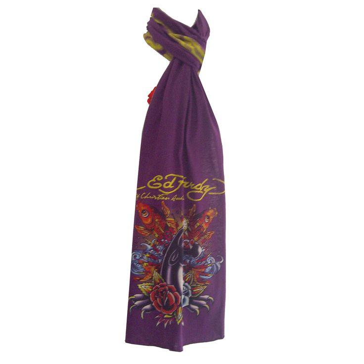Ed Hardy Girls Panther with Koi Jersey Scarf – Purple