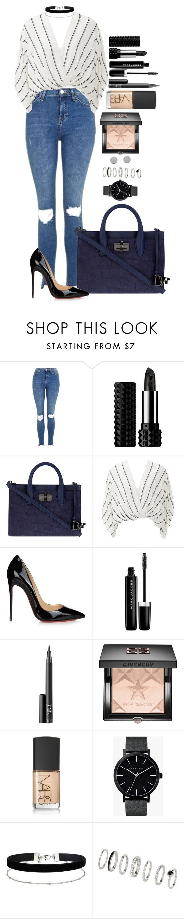"""Untitled #1542"" by fabianarveloc on Polyvore featuring Topshop, Kat Von D, Diane Von Furstenberg, Free People, Christian Louboutin, Marc Jacobs, NARS Cosmetics, Givenchy, The Horse and Miss Selfridge"