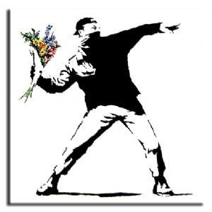 The Banksy Shop - Banksy Canvas Prints Square - Flower Thrower, £34.95 (http://www.thebanksyshop.co.uk/banksy-canvas-prints-square-flower-thrower/)