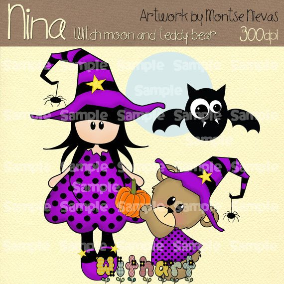 Witch moon and teddy bear Nina dolls 0292 digital clip by Withart, $2.99