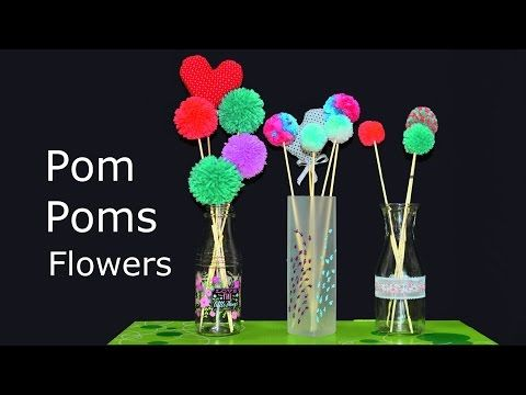 Pom Poms Flowers Arrangement in Vase How to make Art Crafts diy room decoration tutorial yarn hacks