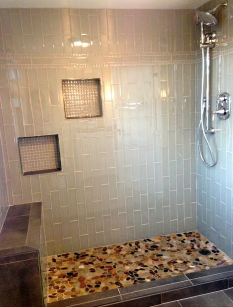 29 best images about our projects bathrooms on pinterest for Installing river rock tile