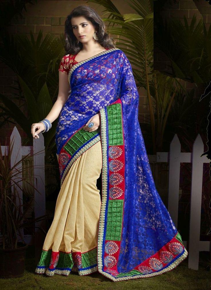 Beige Bhagalpuri Silk Jacquard Designer Saree