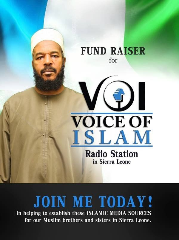 "Many if not most parts of our Ummah need our help, but we can't help everyone. So, we must choose whatever part we can help and be generous in our help, especially in this month of Ramadaan.  Muslims in Sierra Leone have one ailing radio station, ""The Voice of Islam Radio"", using antiquated equipment they compete with numerous sophisticated missionary stations evangelizing the Muslim majority."