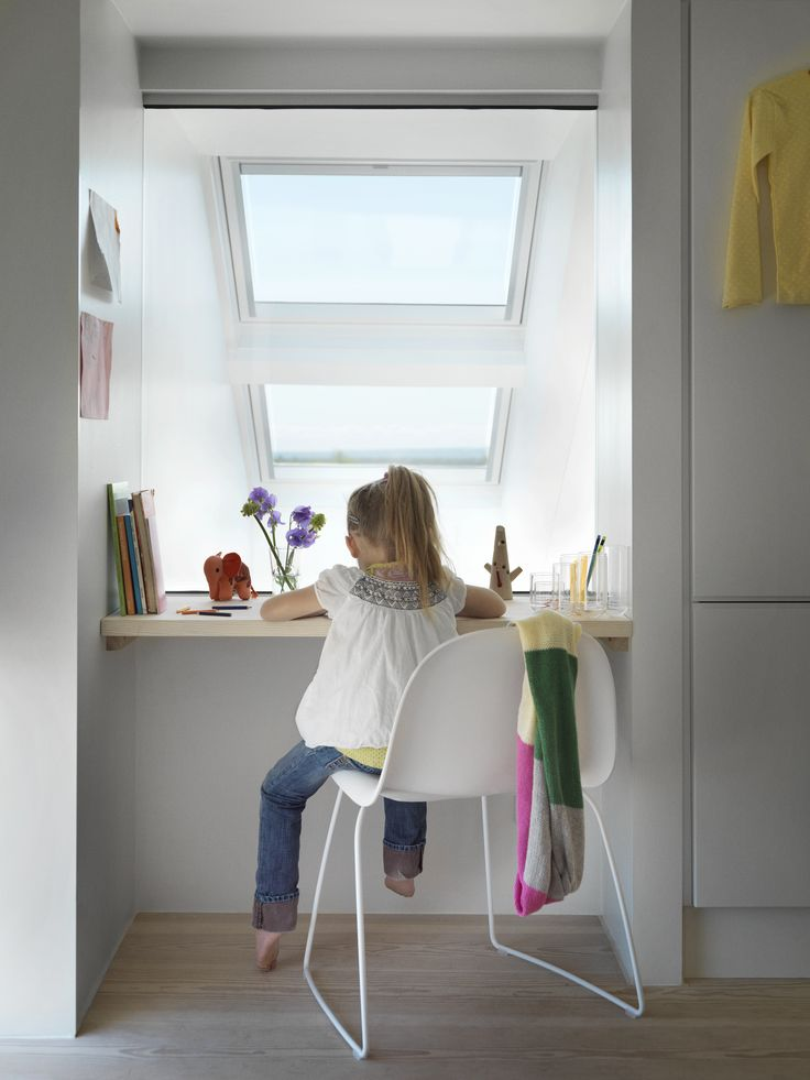 Here's a great idea for a small wall mounted workspace above your stairs. VELUX windows provide the perfect #daylight conditions for your kids to do their homework under healthy and stimulating conditions.