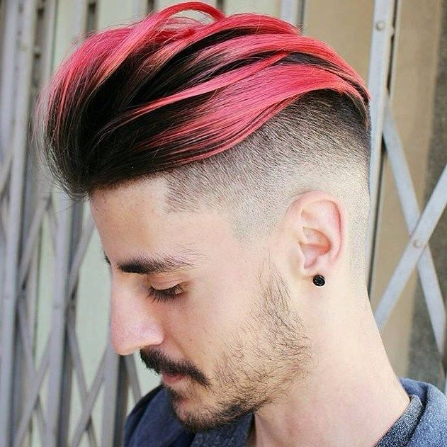 A Hairstyle For A Young Boy With Very Short Hair And A Longer Hair Comb Hairstyles Man Mens Hair Colour Hair Highlights Cool Hair Color