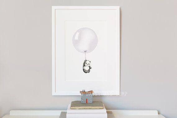 Balloon Picture, Kid's Wall Art, Grey, Panda, Minimal, Modern, Unisex, Nursery Art, Painting, Watercolour Print, New Baby Gift