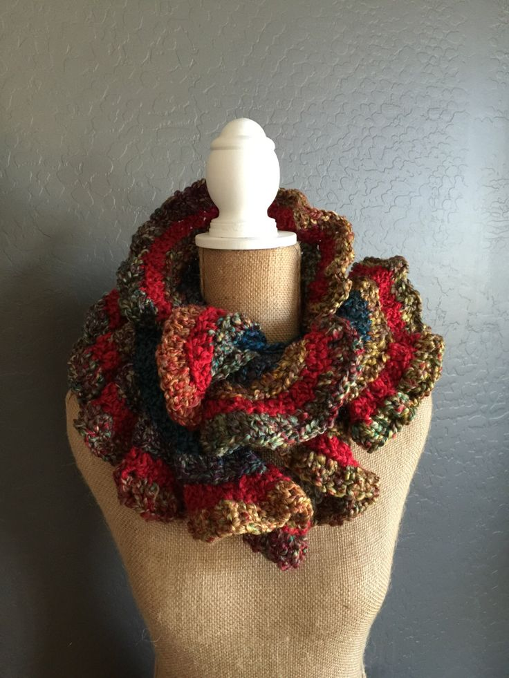 "COLORFUL Crocheted Ruffle Potato Chip Scarf: Classic Scarf in ""Fiesta"" by MyOnDemandStyle on Etsy https://www.etsy.com/listing/267078592/colorful-crocheted-ruffle-potato-chip"