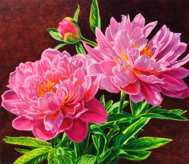 """Peony Duet"" 92cm x 107cm. For more information please contact REDSEA Gallery on (07) 3162 2230 © Fiona Craig"