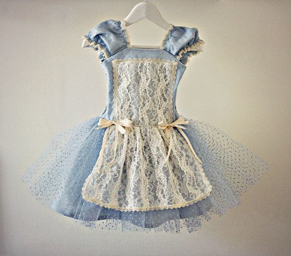 Vintage Style Alice In Wonderland Dress for Baby Girl Toddler Tutu with Lace Steampunk Victorian