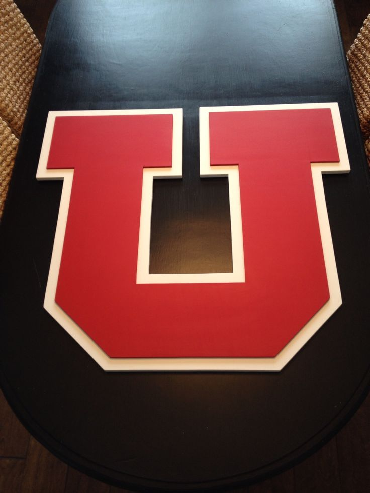 3-D u of u logo sign. Hand made by kate hall. Hand painted wood sign. University of Utah wall decor.