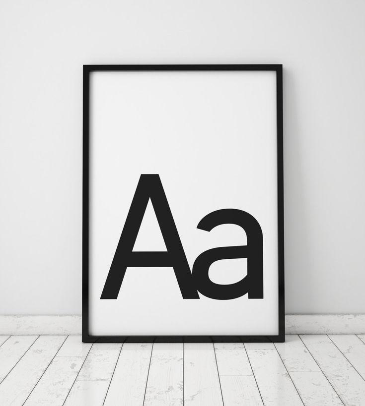 Aa letter print initial wall art scandinavian art scandinavian poster initial poster