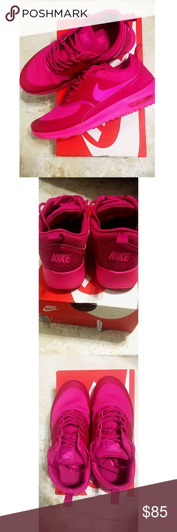 💋SALE❗️TRENDY!❗️Nike Air Max shoes 💝Highly trendy!! Hot pink, barely worn, great condition! Run a half size smaller. NO TRADES!! Lowest price! 💕 Nike Shoes Athletic Shoes