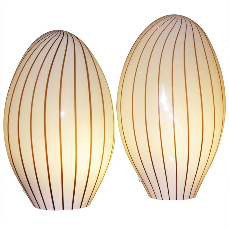 Pair Of 60s  70s Murano Glass Oval Table Lamps Made With Hand Blown Glass.