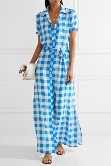 Azure and white crepe de chine Button fastenings through front 100% polyester Designer color: Lakeville Blue