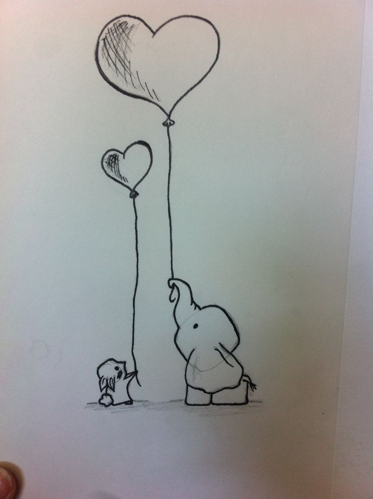 Small Bunny And Elephant Holding Balloons Copied It From A