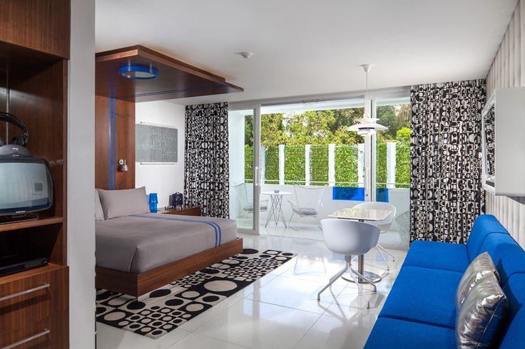 Blue studio. Luna2 studiotel, Bali. Interior design by Melanie Hall. #interiordesign #melaniehalldesign #retro