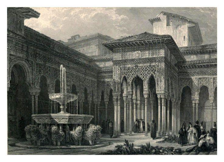 El patio de los leones 1833 David Roberts