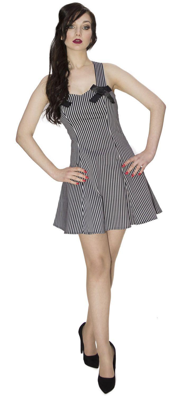 Pin Stripe Short Slimming Black & White Dress