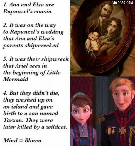 But Elsa and Anna are NOT sisters the flower rupunzel's mom drank made her give birth to twins and when one got stolen for her powers and the queen and king not knowing if Elsa had powers they sent Elsa away to live with the queens sister Anna's mom.