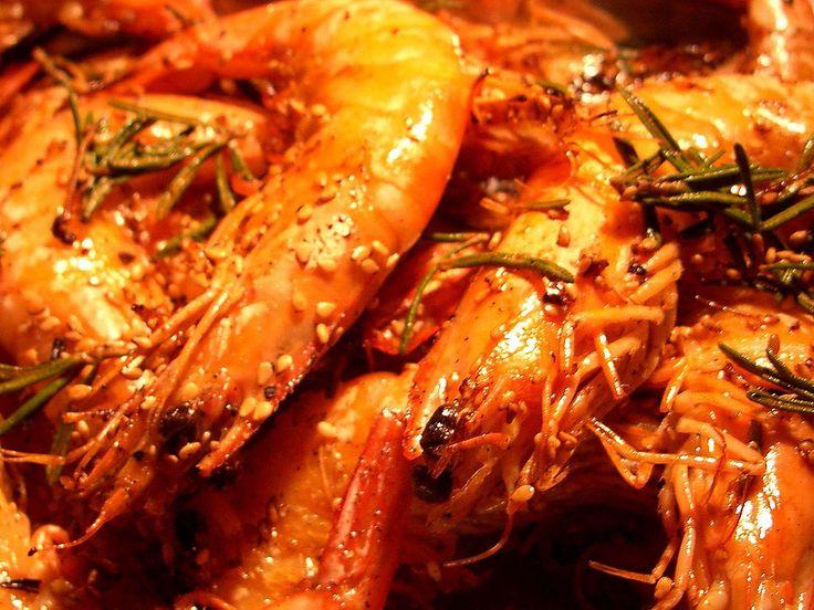 Crevettes au Romarin Fleur de Sel & Huile de Sésame (pour 4 personnes) Ingrédients