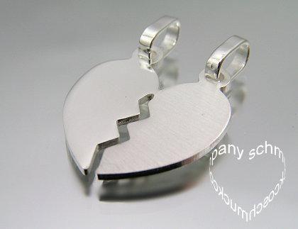 Herz Partneranhänger + 2 Ketten + gratis Gravur Silber - Juwelier Kueppers