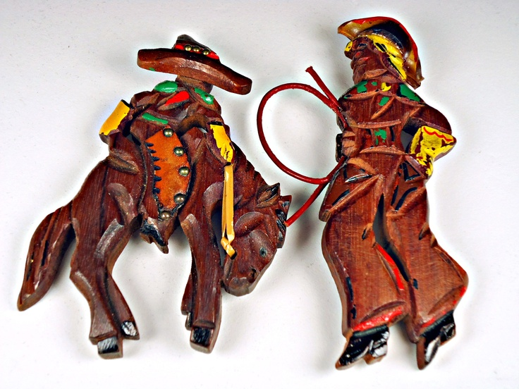 Cowboy and cowgirl pins from my collection.