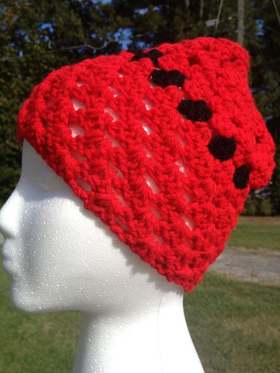 Short Red/Black Ventilated Beanie Cap by AuntGGsMadMoney on Etsy, $6.00