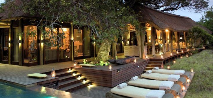 The Lodge at night.
