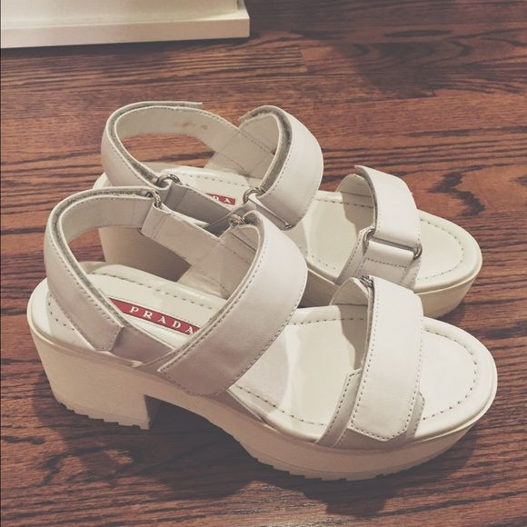 Authentic Prada white sport sandals Absolutely stunning! These chic chunky platforms are incredibly comfortable and stylish; practically new Prada Shoes