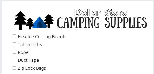 Dollar Store Camping Supplies checklist