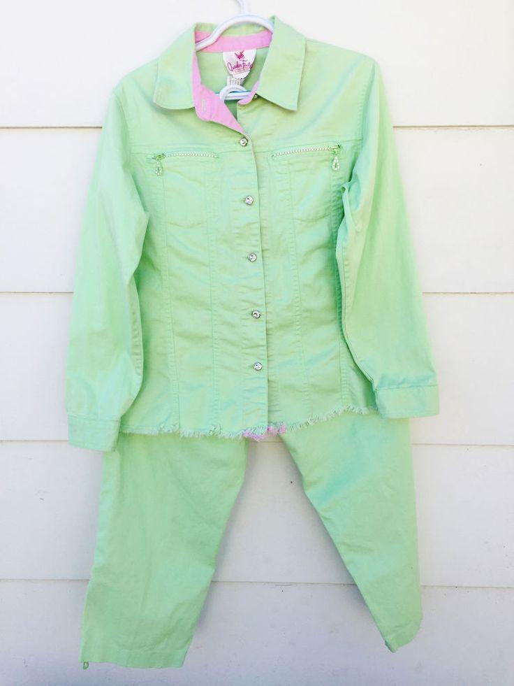 QUAKER FACTORY Women's Jean Jacket Pants 2 Pc Mint Green Rhinestone Buttons Sz M #QuakerFactory #ButtonDownShirt #Casual