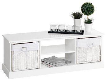 TV stolek OURE 2 košíky bílá