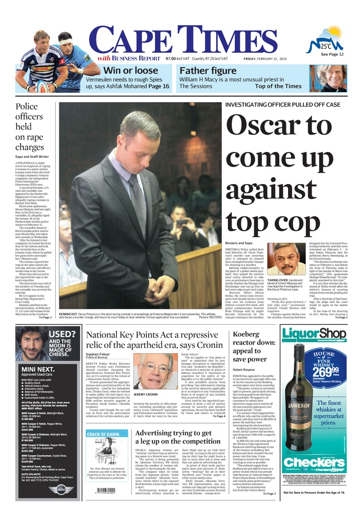 News making headlines: Police officers held on rape charges.  Oscar to come up against top cop