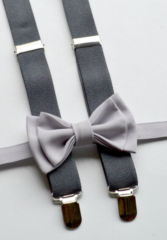 Light Grey Bow Tie --  Grey / Charcoal Suspenders -- Suspenders Bow Tie -- Ring Bearer Outfit. SHIPS FAST!**