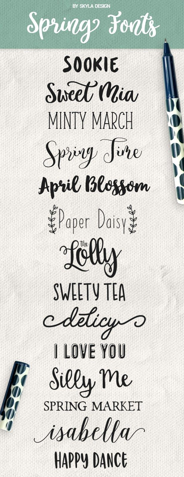 Here are some Cute, Handwritten, Spring fonts!   Sookie  |    Sweet Mia  |    Minty March  |    Spring Time  |   April Blossom  |   Th...