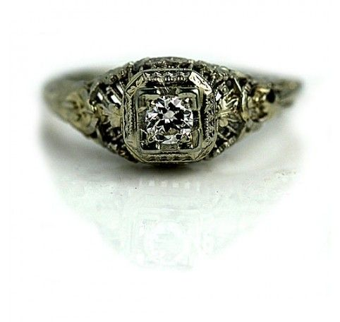 .20 Carat Antique Diamond Ring in 14 Kt White Gold #weddings
