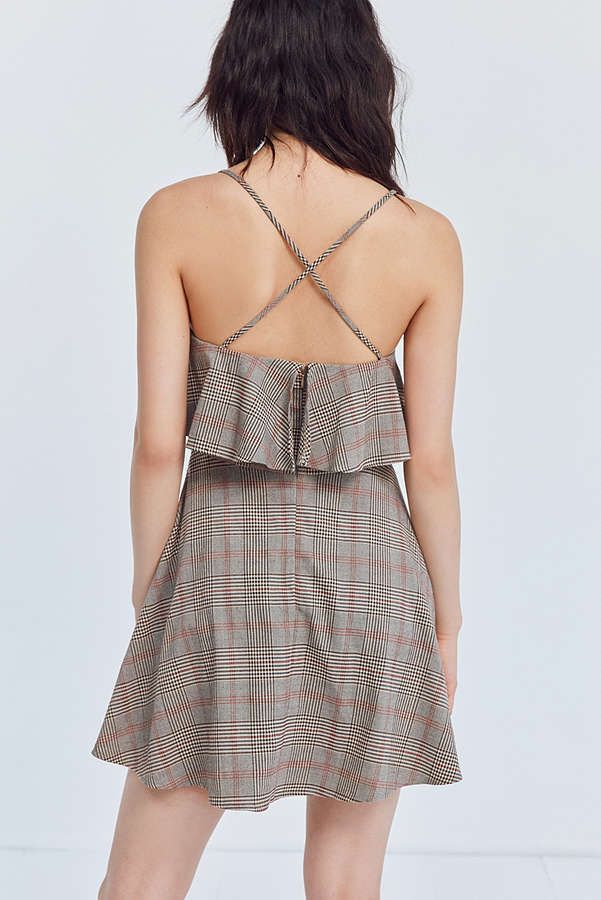 Slide View: 6: Cooperative Glenn Plaid Ruffle Mini Dress