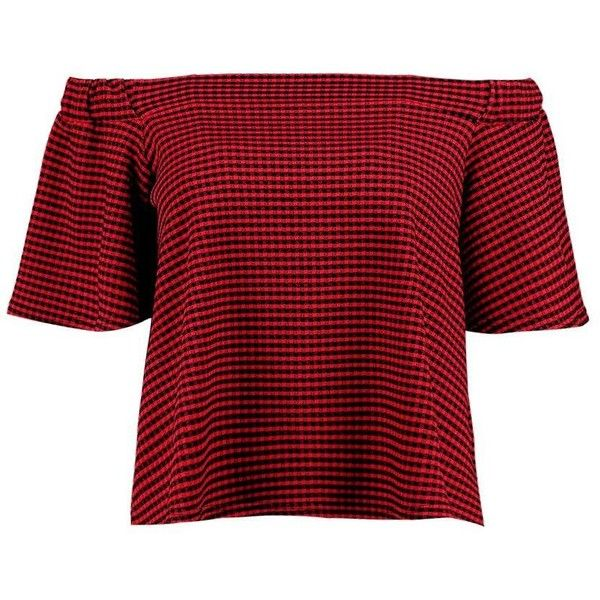 Boohoo Annie Gingham Bardot Top (€11) found on Polyvore featuring women's fashion, tops, shirts, bralette crop top, bralet tops, red top, off the shoulder crop top and red polka dot top