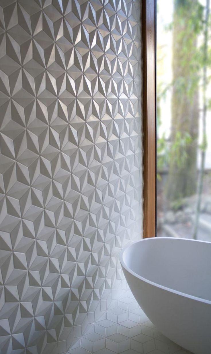 weiße Wandfliesen mit 3d-Optik und Rauten-Muster
